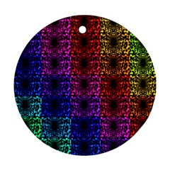 Rainbow Grid Form Abstract Round Ornament (two Sides)