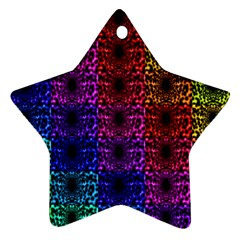 Rainbow Grid Form Abstract Star Ornament (two Sides)