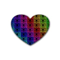 Rainbow Grid Form Abstract Heart Coaster (4 Pack)