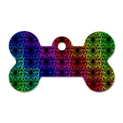 Rainbow Grid Form Abstract Dog Tag Bone (two Sides) by Nexatart