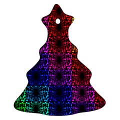 Rainbow Grid Form Abstract Christmas Tree Ornament (two Sides)