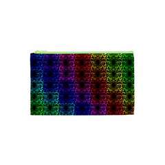 Rainbow Grid Form Abstract Cosmetic Bag (xs) by Nexatart