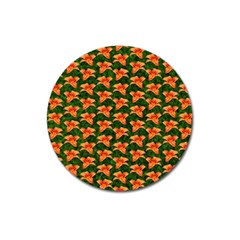 Background Wallpaper Flowers Green Magnet 3  (round)