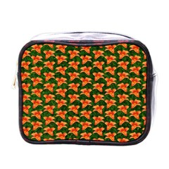 Background Wallpaper Flowers Green Mini Toiletries Bags by Nexatart