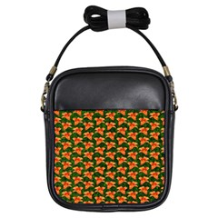 Background Wallpaper Flowers Green Girls Sling Bags by Nexatart