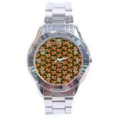 Background Wallpaper Flowers Green Stainless Steel Analogue Watch by Nexatart