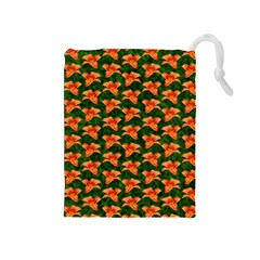 Background Wallpaper Flowers Green Drawstring Pouches (medium)