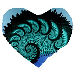 Fractals Texture Abstract Large 19  Premium Heart Shape Cushions