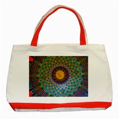 Temple Abstract Ceiling Chinese Classic Tote Bag (red) by Nexatart