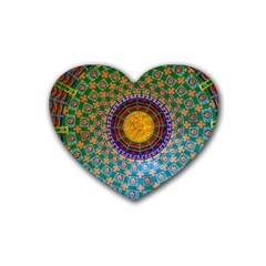 Temple Abstract Ceiling Chinese Rubber Coaster (heart)  by Nexatart