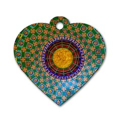 Temple Abstract Ceiling Chinese Dog Tag Heart (two Sides) by Nexatart