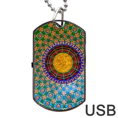 Temple Abstract Ceiling Chinese Dog Tag Usb Flash (one Side) by Nexatart