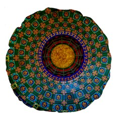 Temple Abstract Ceiling Chinese Large 18  Premium Flano Round Cushions by Nexatart