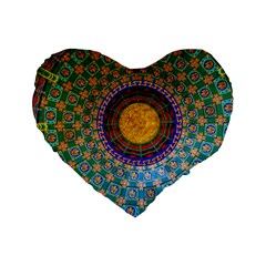 Temple Abstract Ceiling Chinese Standard 16  Premium Flano Heart Shape Cushions by Nexatart