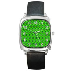 Abstract Art Circles Swirls Stars Square Metal Watch