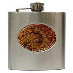 Copper Caramel Swirls Abstract Art Hip Flask (6 Oz) by Nexatart
