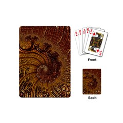 Copper Caramel Swirls Abstract Art Playing Cards (Mini)
