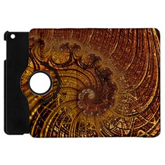 Copper Caramel Swirls Abstract Art Apple Ipad Mini Flip 360 Case by Nexatart