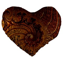 Copper Caramel Swirls Abstract Art Large 19  Premium Heart Shape Cushions by Nexatart