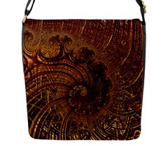 Copper Caramel Swirls Abstract Art Flap Messenger Bag (l)  by Nexatart