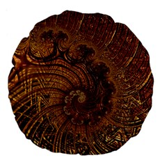 Copper Caramel Swirls Abstract Art Large 18  Premium Flano Round Cushions by Nexatart