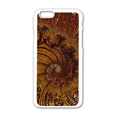 Copper Caramel Swirls Abstract Art Apple Iphone 6/6s White Enamel Case by Nexatart
