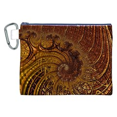 Copper Caramel Swirls Abstract Art Canvas Cosmetic Bag (xxl) by Nexatart