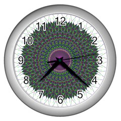 Pattern District Background Wall Clocks (silver)  by Nexatart