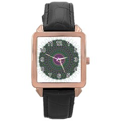 Pattern District Background Rose Gold Leather Watch