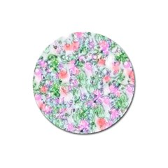 Softly Floral A Magnet 3  (round) by MoreColorsinLife