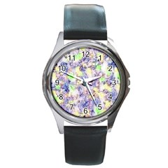 Softly Floral B Round Metal Watch by MoreColorsinLife