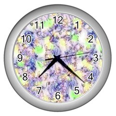 Softly Floral B Wall Clocks (silver)  by MoreColorsinLife