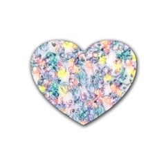 Softly Floral C Rubber Coaster (heart)  by MoreColorsinLife