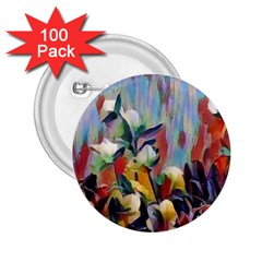 Abstractionism Spring Flowers 2.25  Buttons (100 pack)
