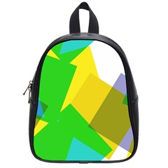Green Yellow Shapes        School Bag (small) by LalyLauraFLM