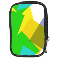 Green Yellow Shapes        Compact Camera Leather Case by LalyLauraFLM