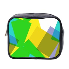 Green Yellow Shapes        Mini Toiletries Bag (two Sides) by LalyLauraFLM