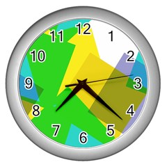 Green Yellow Shapes        Wall Clock (silver) by LalyLauraFLM