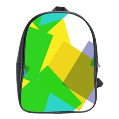 Green Yellow Shapes        School Bag (large) by LalyLauraFLM