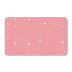 Pink Background With White Hearts On Lines Magnet (rectangular) by TastefulDesigns