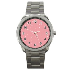 Pink Background With White Hearts On Lines Sport Metal Watch by TastefulDesigns