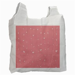 Pink Background With White Hearts On Lines Recycle Bag (one Side) by TastefulDesigns