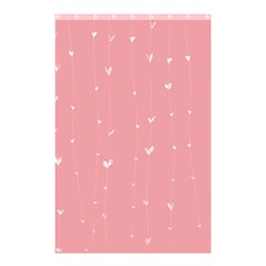 Pink Background With White Hearts On Lines Shower Curtain 48  X 72  (small)  by TastefulDesigns