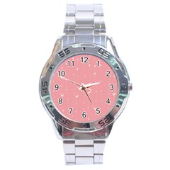 Pink Background With White Hearts On Lines Stainless Steel Analogue Watch by TastefulDesigns