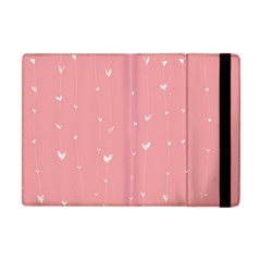 Pink Background With White Hearts On Lines Apple Ipad Mini Flip Case by TastefulDesigns