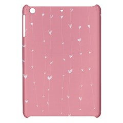 Pink Background With White Hearts On Lines Apple Ipad Mini Hardshell Case by TastefulDesigns