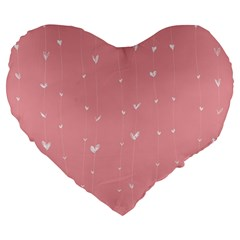 Pink Background With White Hearts On Lines Large 19  Premium Heart Shape Cushions by TastefulDesigns