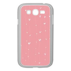 Pink Background With White Hearts On Lines Samsung Galaxy Grand Duos I9082 Case (white) by TastefulDesigns