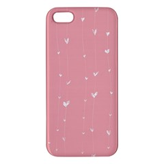 Pink Background With White Hearts On Lines Iphone 5s/ Se Premium Hardshell Case by TastefulDesigns