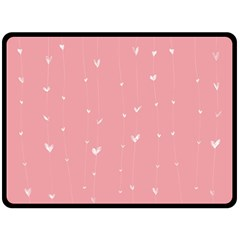 Pink Background With White Hearts On Lines Double Sided Fleece Blanket (large)  by TastefulDesigns